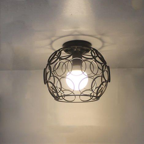 Plafonnier Vintage Industrielle Style Design Cage Eclairage de plafond Noir Fer Intérieure pour Décoration Café Restaurant Cuisine