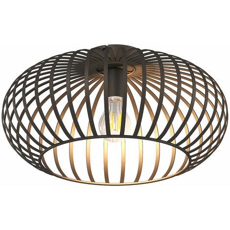 Plafonnier Vintage Lampe Marron Salon Salle À Manger Lattes D'éclairage Design Rétro Couloir Boule Luminaire