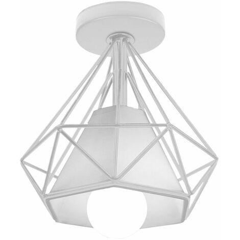 Plafonnier vintage ,luminaires style industriel,lustre Abat-Jour rétro forme diamant , éclairage intérieur, lampe cuisine salon salle à manger chambre, E27, Ø 200mm , blanc