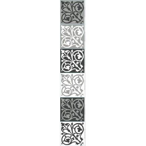 PLAGE Sticker déco carrelage - Carreaux de ciment baroque6 planches de 15x15 cm