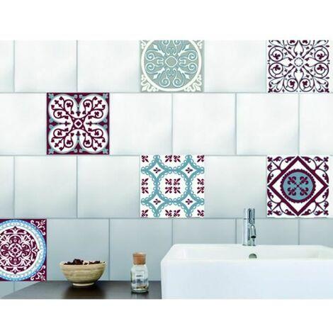 PLAGE Sticker déco carrelage - Carreaux de ciment rouge et bleu6 planches 15 x 15 cm