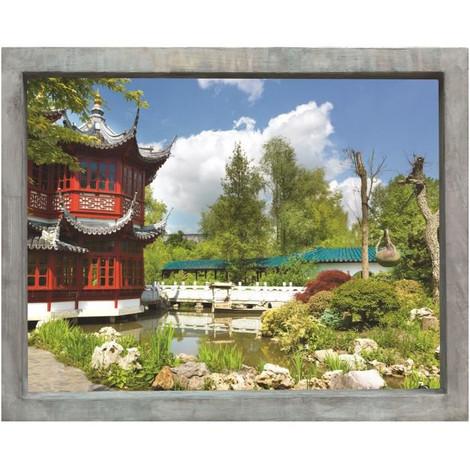 PLAGE Sticker Fenetre trompe l\'oeil adhésive - Jardin d\'Asie60x75 cm