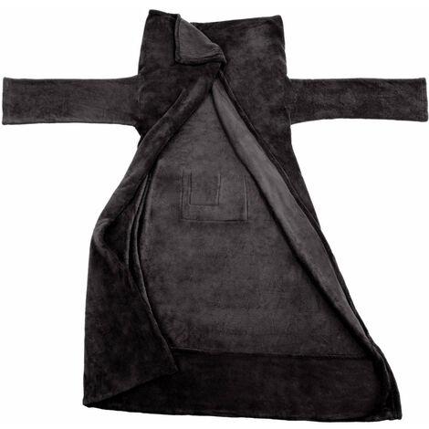 Plaid avec manches noir 180 x 150 cm - Noir