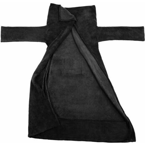 Plaid avec manches noir 200 x 170 cm - Noir