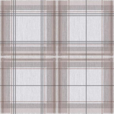 Plaid Check Tartan Wallpaper Chequed Woven Linen Effect Taupe Grey Arthouse