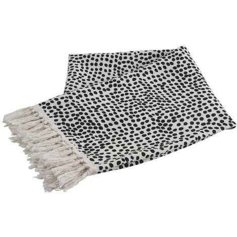 Plaid en coton blanc à pois noirs