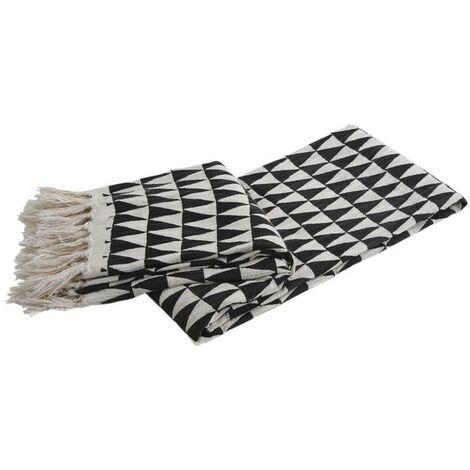 Plaid en coton noir et blanc triangles