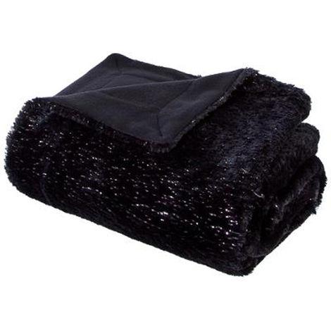Plaid en polyester de couleur noire - Dim : L 150 x l 125 cm