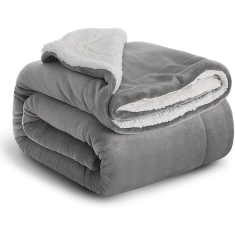 Plaid Gray Sherpa Fleece Blanket 152x202cm - Double Sided Reversible Bed Blanket Soft and Warm Plaid Flannel Sofa Throw