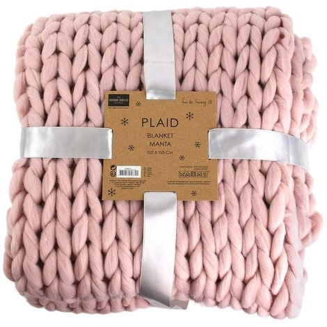 Plaid grosses mailles Chunky 120 x 150 cm Rose