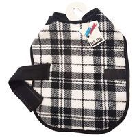 PLAID STYLE FLEECE DOG COAT SMALL WHITE