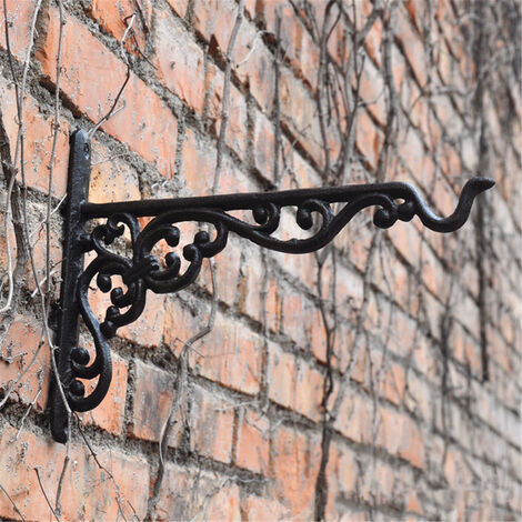 Plain Cast Iron Garden Hanging Basket Hook Holder Planter Wall Decorated Ornate