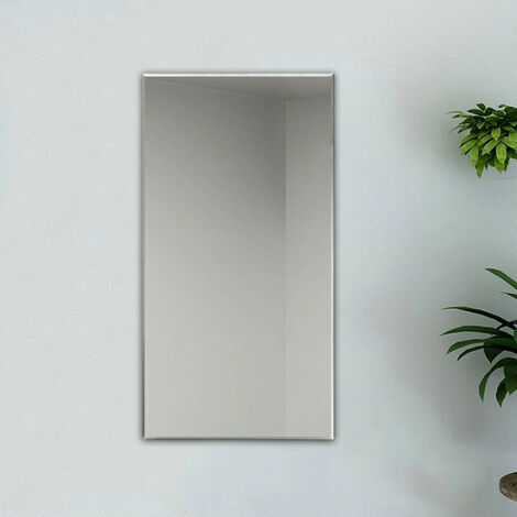 Plain Frameless Wall Mirror Large Full Length with Wall Hanging Fixings Bathroom
