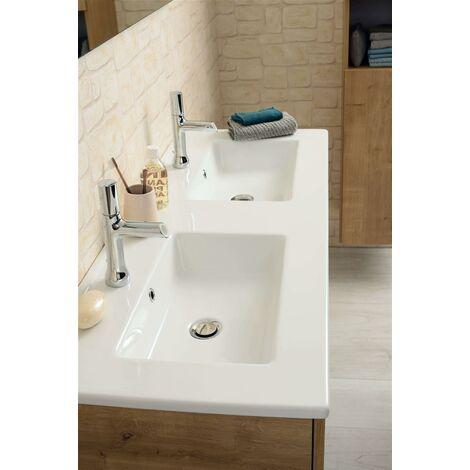 Plan de toilette avec double vasque céramique blanche NOLITA (120 cm ) - PLAN VASQUE CERAMIQUE - LG 121 PROF 46.5 EP 2.3CM - BLANC BRILLANT