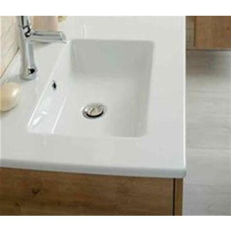 Plan de toilette avec une vasque céramique blanche NOLITA (60 cm) - PLAN VASQUE CERAMIQUE - LG 61 PROF 46.5 EP 2.3CM - BLANC BRILLANT .