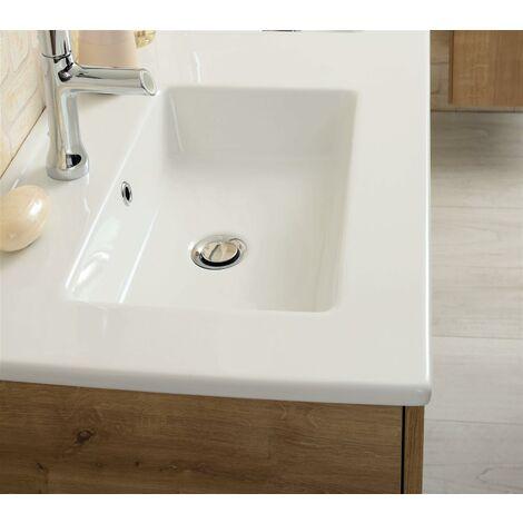 Plan de toilette avec une vasque céramique blanche NOLITA (80 cm) - PLAN VASQUE CERAMIQUE - LG 81 PROF 46.5 EP 2.3CM - BLANC BRILLANT