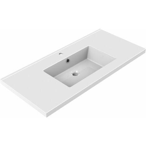 Plan de toilette en céramique simple vasque 100 cm TOBI