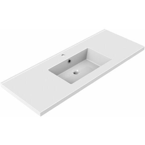 Plan de toilette en céramique simple vasque 120 cm TOBI