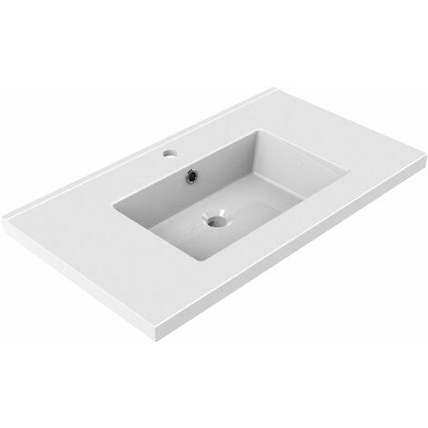 Plan de toilette en céramique simple vasque 80 cm TOBI