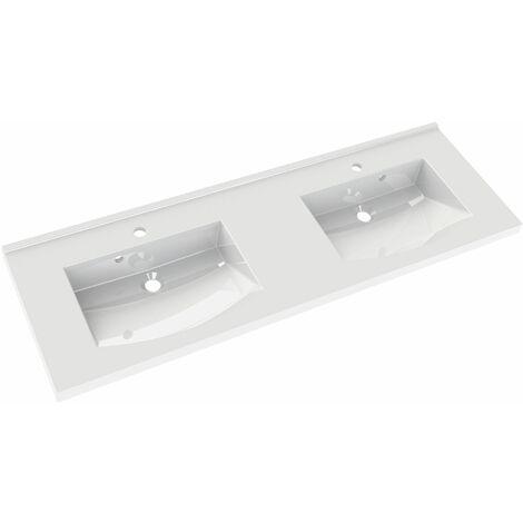 Plan de toilette en polybéton double vasque 140 cm FLEX