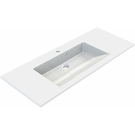 Plan de toilette en polybéton simple vasque 100 cm SLIDE Blanc brillant