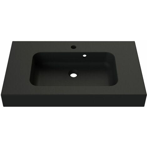 Plan de toilette en polybéton simple vasque 80 cm ROKE