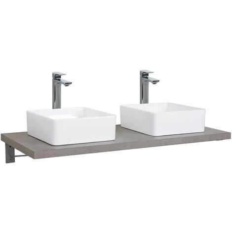Plan de toilette suspendu pour vasque WILL - 120 cm + Equerres Invisibles - Décor Chêne / Effet Béton - Décor chêne