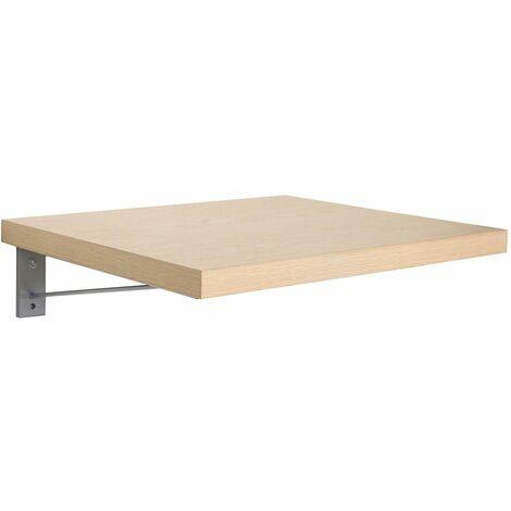 Plan de toilette suspendu pour vasque WILL - 60 cm + Equerres Invisibles - Décor Chêne / Effet Béton - Décor chêne
