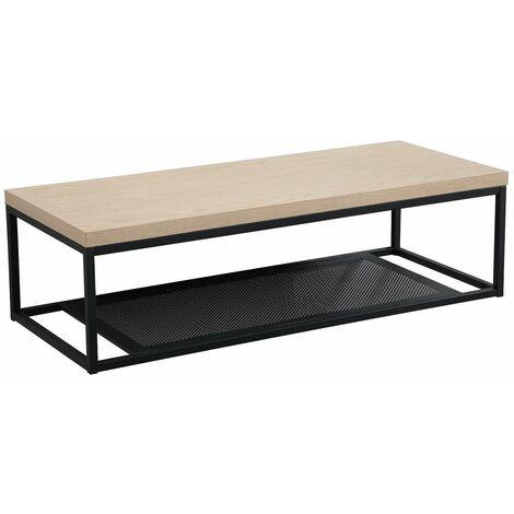 Plan de toilette suspendu pour vasque WILL - Ep. 3,8 cm L120 cm + Structure Métal Noir Mat - Décor Chêne / Effet Béton - Béton