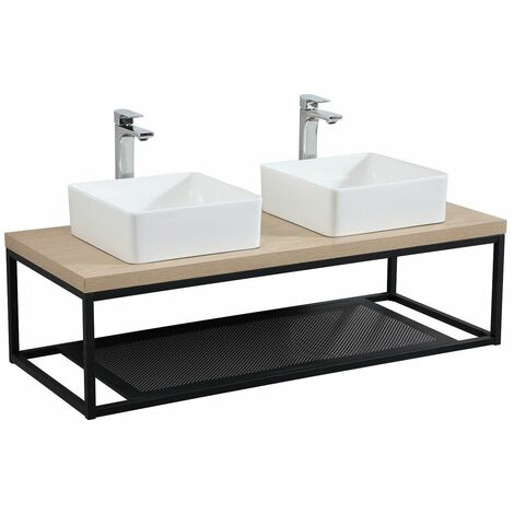 """main image of """"Plan de toilette suspendu pour vasque WILL - Ep. 3,8 cm L120 cm + Structure Métal Noir Mat - Décor Chêne / Effet Béton - Béton"""""""
