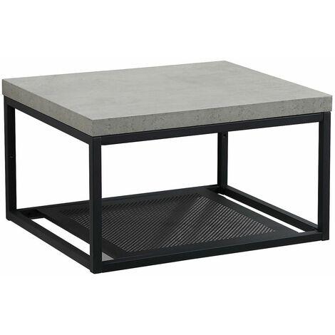 Plan de toilette suspendu pour vasque WILL - Ep. 3,8 cm L60 cm + Structure Métal Noir Mat - Décor Chêne / Effet Béton - Béton