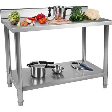 Plan De Travail En Acier Inoxydable Avec Dosseret 120X60X85Cm Table De Cuisine