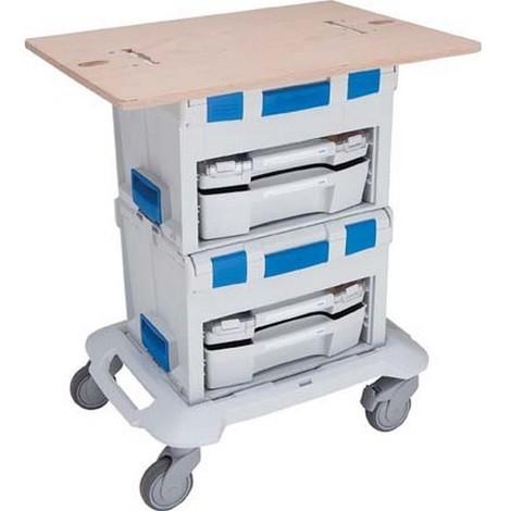 Plan de travail mobile pour mallettes à outils et LS-BOXX, Dimensions : 500 x 700 x 18 mm, Poids 4500 g