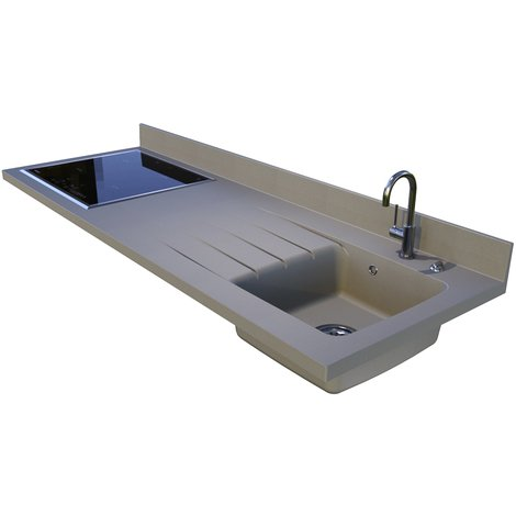 Plan de travail monobloc PlaniQuartz avec évier à droite - 180cm TRUFELLO