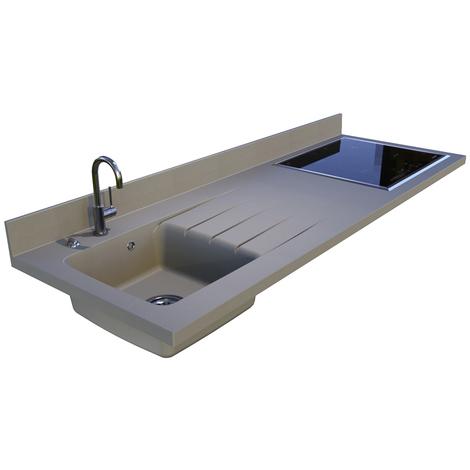 Plan de travail monobloc PlaniQuartz avec évier à gauche - 180cm TRUFELLO