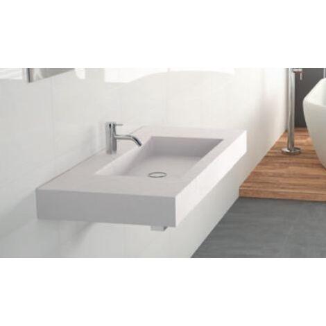 Plan de vasque 80x45cm blanc Sandydur Ney York Easy - Blanc