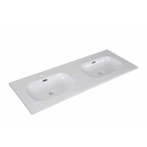 Plan Double Vasque Blanc Résine De Synthèse 120 Cm Enio - Blanc
