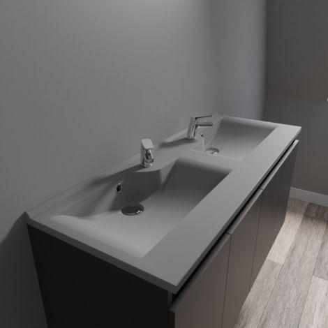 Plan double vasque design gris RÉSILOGE - 120 cm