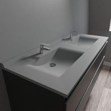 Plan double vasque en résine de synthèse gris RÉSIPLAN - 140 cm