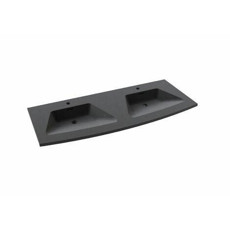 Plan Double Vasque Noir Résine de synthèse 120 cm TIGA - Noir