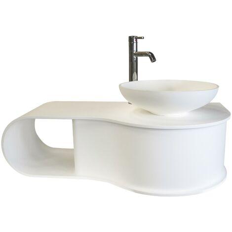 Plan vasque à suspendre SNOW - 100cm - Blanc - Solid Surface - Sans trop plein
