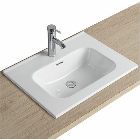 Plan Vasque Blanc Céramique à encastrer 60 cm ILA - Blanc