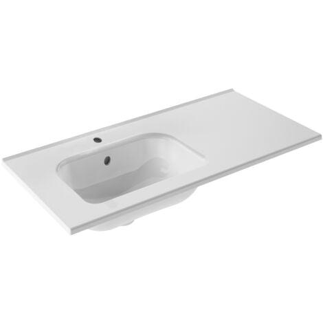 Plan vasque céramique excentré à gauche New Anco Pour meuble 120cm