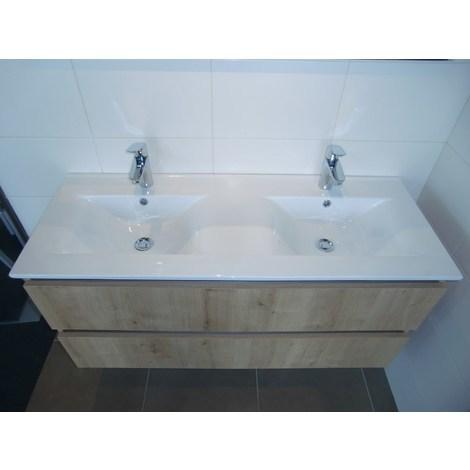 Plan-vasque en céramique 120 cm - Double vasque - Couleur : blanc