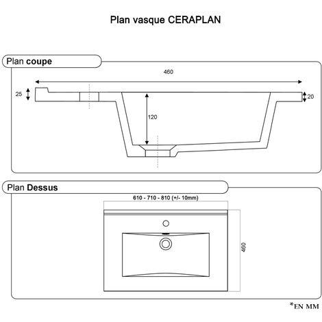 Plan vasque en céramique CÉRAPLAN - 70 cm
