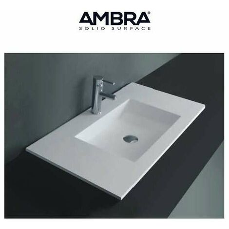 Plan vasque intégrée 90 cm en Solid surface - Lilia