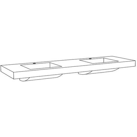 Plan vasque moulé 140 cm - Double vasques - Couleur : blanc brillant - Larg. : 1400 mm - Prof. : 535 mm