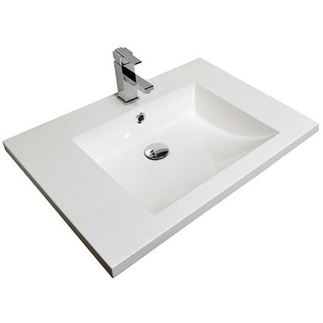Plan vasque moulé 70 cm - Simple vasque - Couleur : blanc brillant