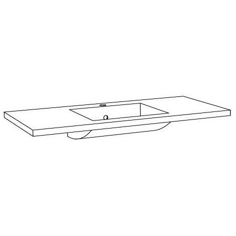 Plan vasque moulé 90 cm - Simple vasque - Couleur : blanc brillant