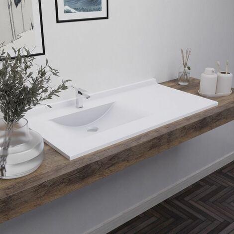 Plan vasque RÉSIPLAN - 105 cm avec vasque déportée à gauche